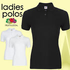 Ladies Womens Polo T-Shirt Shirt Top Sport Lady-Fit Casual New FRUIT OF THE LOOM