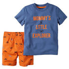 "Carter's Boys 2 Piece Blue ""Mommy's Little Explorer"" Short Sleeve T Shirt & Or"