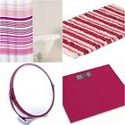 RASPBERRY BATHROOM ACCESSORIES RUG MAT CURTAIN MIRROR LAUNDRY SCALES CHOICE OF 8