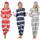 Ladies Snowflake Fairisle Fleece All In One Pyjamas Sleepsuit Onesie Nightwear