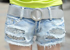 Sweet Women Girl Mini Slim Jeans Shorts Pants Trousers Denim Holes With Sequins