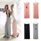 New Women's Wide Leg Loose Cotton Elastic Band Waist Pants Long Culottes Trouser