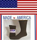 Men women Solid BROWN cotton diabetic CREW socks gift for him her shoe size 8-12