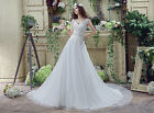 New Coming Lace Appliques Beaded Wedding Dress Bridal Gowns US Size 4-26W