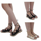 New Ladies Womens Flat Sandals Espadrilles Lace Up Ankle Strap Gladiators Shoes