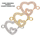 Cubic Zirconia Crystal Love Heart Bracelet connector Charm Plated 2pcs
