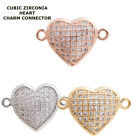 Cubic Zirconia Crystal Fully Paved Heart Bracelet connector Charm Plated 2pcs