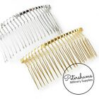 """3.25"""" (8.5cm) Large Silver or Gold Plated Metal Hair Comb for Millinery & Tiaras"""