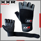 XXR Black Max Weight Lifting Gloves Long Wrap Leather Gloves Fitness Training