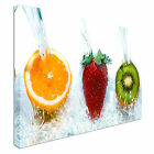 Fresh Fruit Jumping Into Water Canvas Wall Art prints high quality