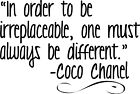 In order irreplaceable Chanel Decor vinyl wall decal quote sticker Inspiration