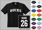 Bucks Custom Name & Number Personalized Basketball Kid's You