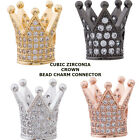 Cubic Zirconia Crystal Paved King Crown Bracelet connector Charm Plated 2pcs