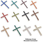 Thin Short Alloy Crystal Sideway Cross Bracelet connector Charm Silver Plated 8p