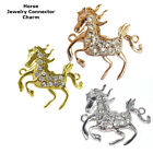 Stallion Horse Animal Crystal Cooper Bracelet connector Charm Plated 8pcs