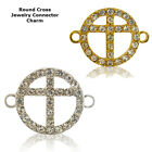 Christian Cross Circle Crystal Cooper Bracelet connector Charm Plated 8pc