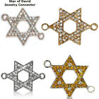 Star Of David Jewish Paved Crystal Alloy Bracelet connector Charm Plated 8pcs