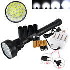 32000lm XM-L 24x T6 LED Tactical Flashlight Camping Lamp Torch 4x 18650 Charger