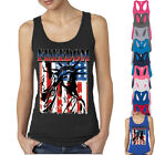 Freedom The Statue of Liberty Lady TANK TOP Patriotic Tattered Vintage USA Flag