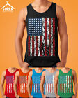 American Flag Distressed TANK TOP Patriotic Tattered Vintage USA Flag Men's tee  image