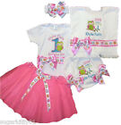 Personalized Birthday Set, Onezee, Bloomer, HB & Bib Owl Design w/Tutu Free Shp