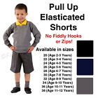 Boys Elasticated School Shorts Pull Up Black Grey Navy Age 3 4 5 6 7 8 9 10 11