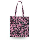 Leopard Print Bright Pink Canvas Tote Bag - 16x16 inch Book Gym Bag Optional Zip
