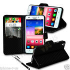Carbon Fiber Leather Wallet Stand Flip Case Skin Cover, SP & Retractable Pen