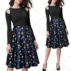 Ladies Summer New Heart Floral Prints Vintage High Waist Pleated Swing Skirts