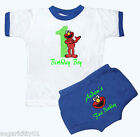 Personalized Boy's Royal & White 1st Birthday Outfit Elmo Design