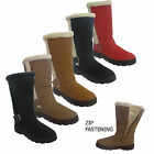 LADIES WOMENS QUILTED SNOW WARM FUR LINED BUCKLE MID CALF  BOOTS SHOES SIZE 3-8