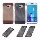 Luxury PU Leather Canvas Hybrid Slim Hard Case Cover For Samsung Galaxy S6/S7