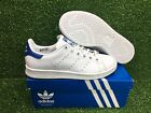 NEW ADIDAS ORIGINAL STAN SMITH J YOUTH GRADE SCHOOL SHOES WHTE/BLUE S74778