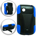 T-Stand Black on Blue Combo Hard+Silicon Case For LG 306G TRACFONE Phone