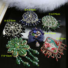 2pcs 4-10cm black/green beads Rhinestones tassel brooch appliques patches 3577