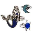 Mood Ring Changing Color Turtle Moon Mermaid Shape Size Adjustable Temperature M