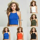 Womens Ladies Casual Sleeveless Plain Halter Neck Crop Top Girls Sexy Vest New