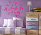 Custom Name in Butterfly Flower Floral Wall Vinyl Decal