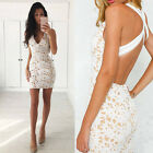 Sexy Women Summer Crochet Deep V Neck Wedding Evening Party Fashion Lace Dress A