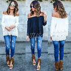 FASHION WOMEN'S CASUAL LONG SLEEVE TOPS LOOSE RETRO BLOUSE LADIES LACE T SHIRT