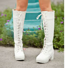 New Women's Lolita Knee High Lace Up Boots Chunky Heels Cosplay/Halloween Shoes