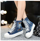 New Women's Denim High Top Canvas Hidden Heels Lace Up Round Toe Casual Shoes