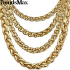 3/4/6/9.5mm Mens Chain Wheat Link Gold Plated Tone Stainless Steel Necklace Gift