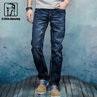 Men's Denim Jeans Slim Fit Straight Leg  Trousers  Casual Cotton Pants Dark Blue
