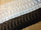 "5 yard 15cm 5.9"" wide black/ivory cotton rose embroidery tapes lace trim 4KN668"