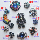 5-15pcs flowers birds sequins beads Rhinestones appliques patches brooch 4137
