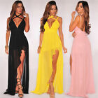 Elegant Sexy Women Irregular Evening Party Strapy Backless Long Chiffon Dress A