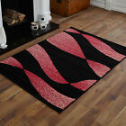 SMALL MEDIUM MODERN BLACK RED 60 X 120 CM  TWIST PATTERN CHEAP SOFT AREA RUGS