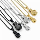 Boxing Glove Silver/Gold/Black 316L Stainless Steel Charm Pendant Chain Necklace