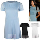WOMENS CELEBRITY INSPIRED FISH NET SHORT SLEEVE PLAYSUIT SHORT JUMPSUIT TOP